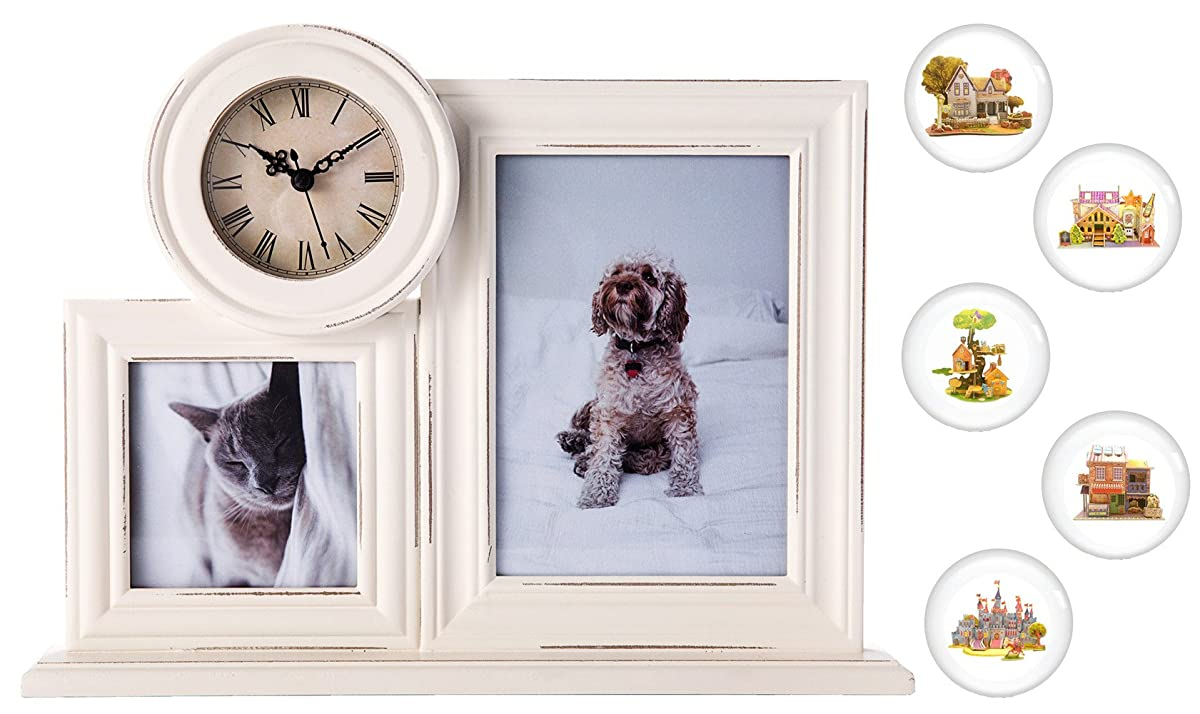 """2 Option(5x7"""",4x4"""") Collage Picture Frame with Clock – Ornate White ..."""