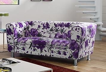 3-Sitzer Design Sofa 3er Wellenunterfederung Modern - VANCOUVER (Violett)