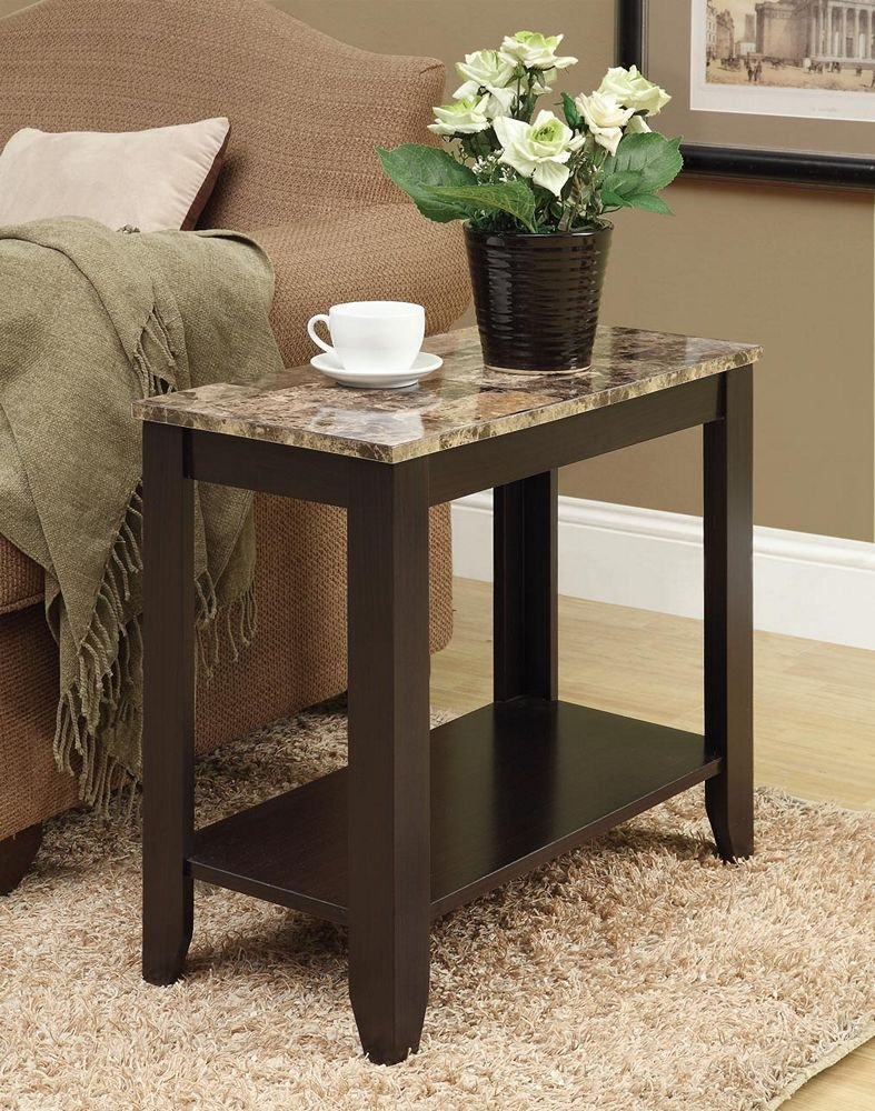 """Monarch specialties I 3114, Accent Side Table, Marble-Look Top, Cappuccino, 24""""L"""