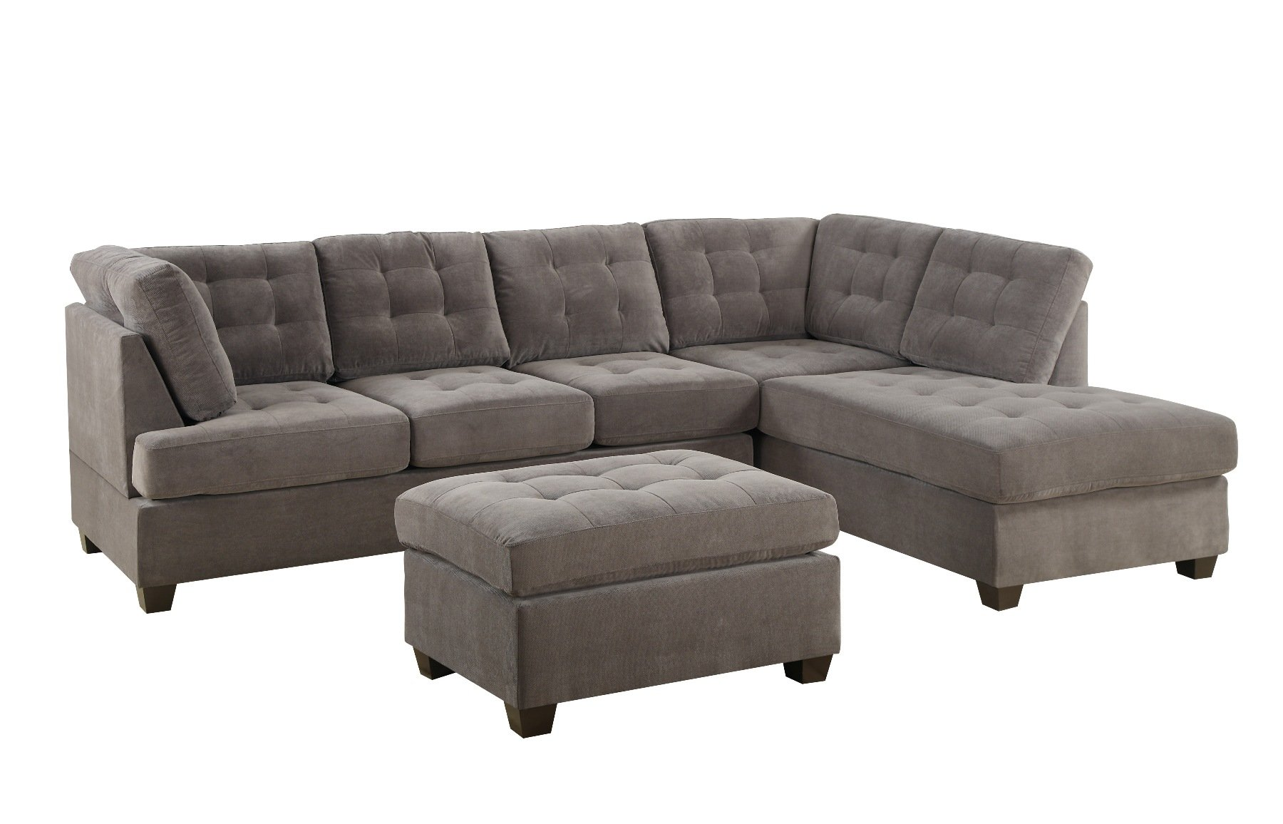 Galleon bobkona michelson 3 piece reversible sectional for Bobkona sectional sofa with ottoman