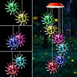 Mosteck Wind Chimes Outdoor Solar Wind Chimes Color Changing Sunflower Wind Chime Mobile Best Birthday Gifts for Mom Grandma or Housewarming, Decorative Romantic Patio Lights for Yard Garden Party (Color: Sunflower, Tamaño: Sunflower)