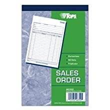 TOPS Sales Order Book, 5.5 x 8.38 Inch, 3-Part, Carbonless, 50 Sets, White, Canary, and Pink (46350)