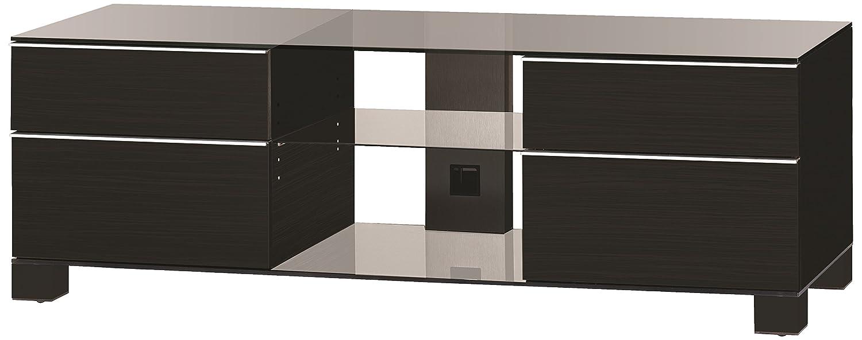 Sonorous MD 9340-C-HBLK-BLK Fernseher-Möbel mit Klarglas (Aluminium Hochglanz/Korpus Hochglanzdekor) schwarz