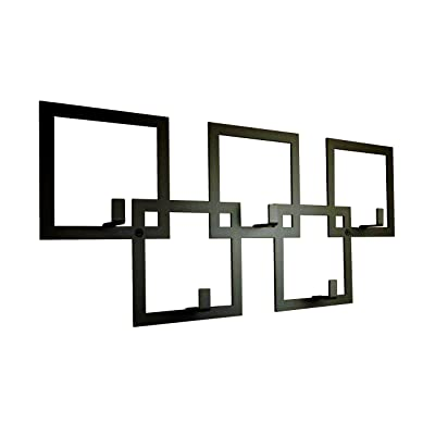 Contemporary Wall Mounted Square Coat Rack in Black by The Metal House