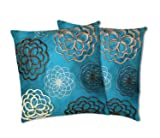 Lush Decor Covina Pillows, Turquoise, Set of 2