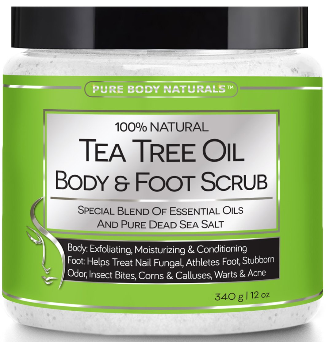 Tea Tree Oil Body and Foot Scrub - Tea Tree Oil Benefits Fights Ring Worm & Athlete