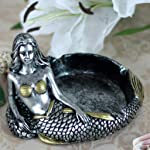 Vintage Fashion Creative Unique Resin Mermaid Ashtray Ornaments Table Ashtray Cigar Ash Tray Home Decoration Décor Crafts Gifts (silver)