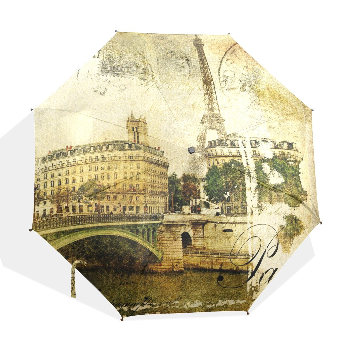 JSTEL Compact Ultra-light and Portable Travel Foldable Rain Umbrella Paris Vintage Pattern 0