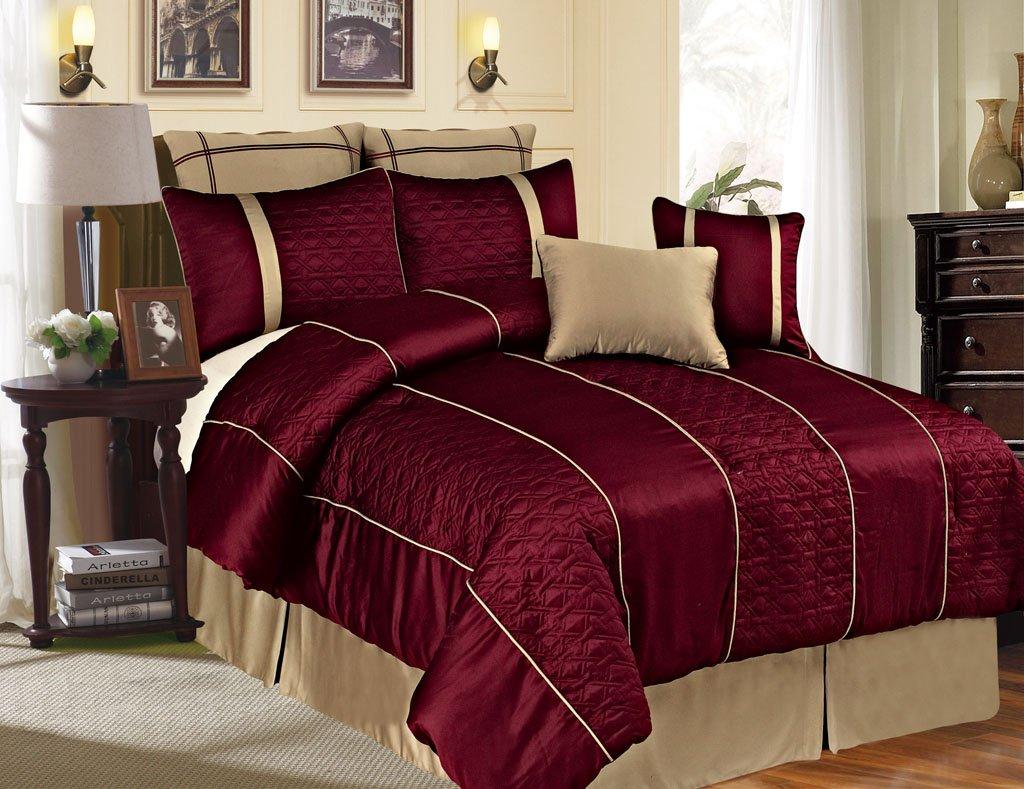 8 Piece Queen Emoji Burgundy Comforter Set