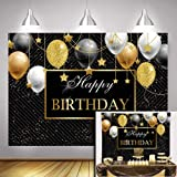 Vinyl 9x6ft Happy 40th 50th 60th Birthday Party Decoration Supplies Sparkling Stars Ladies Bday Banner Photo Background Cake Table Photo Booth Black Gold Glitter Sequin Stripes Photography Backdrop (Color: black, Tamaño: 9x6ft)