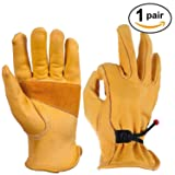 Gardening Gloves Genuine Cowhide Leather with Adjustable Wrist for Wood Cutting, Construction, Garden, Mechanic, Truck Driving, 1 Pairs (Gold, Medium) (Color: Adjustable Wrist, Tamaño: Medium (1 Pair))