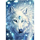 Adarl 5D DIY Diamond Painting Rhinestone Pictures of Crystals Embroidery Kits Arts, Crafts & Sewing Cross Stitch (Snow Wolf Queen) (Color: Snow Wolf Queen, Tamaño: 30*40cm/11.81*15.75inch)