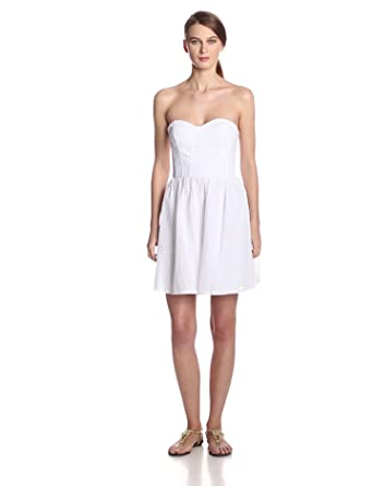 Juicy Couture Women's Punched Strapless Corset Eyelet Dress, White, 6