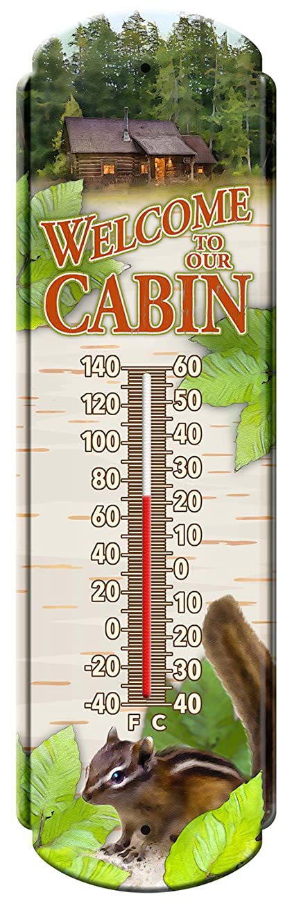 Reflective Art Welcome To The Cabin Vintage Style Tin Thermometers, 5