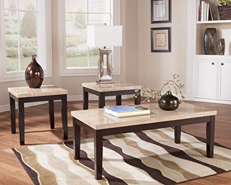Faux Travertine 3-in-1 Occasional Table Set
