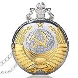 Nextstart New Soviet Sickle hammer Style Quartz Pocket Watch Men women Vintage Gold Pendant
