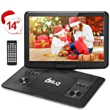 ?Upgraded? DR.Q 14.1'' Portable DVD Player with 5 Hours Rechargeable Battery, 1280x800 HD Swivel Screen, Remote Control, 5.9ft Car Adapter, Supports SD Card, USB Port and Multiple Disc Formats-Black (Color: Black, Tamaño: 14.1 Inch)