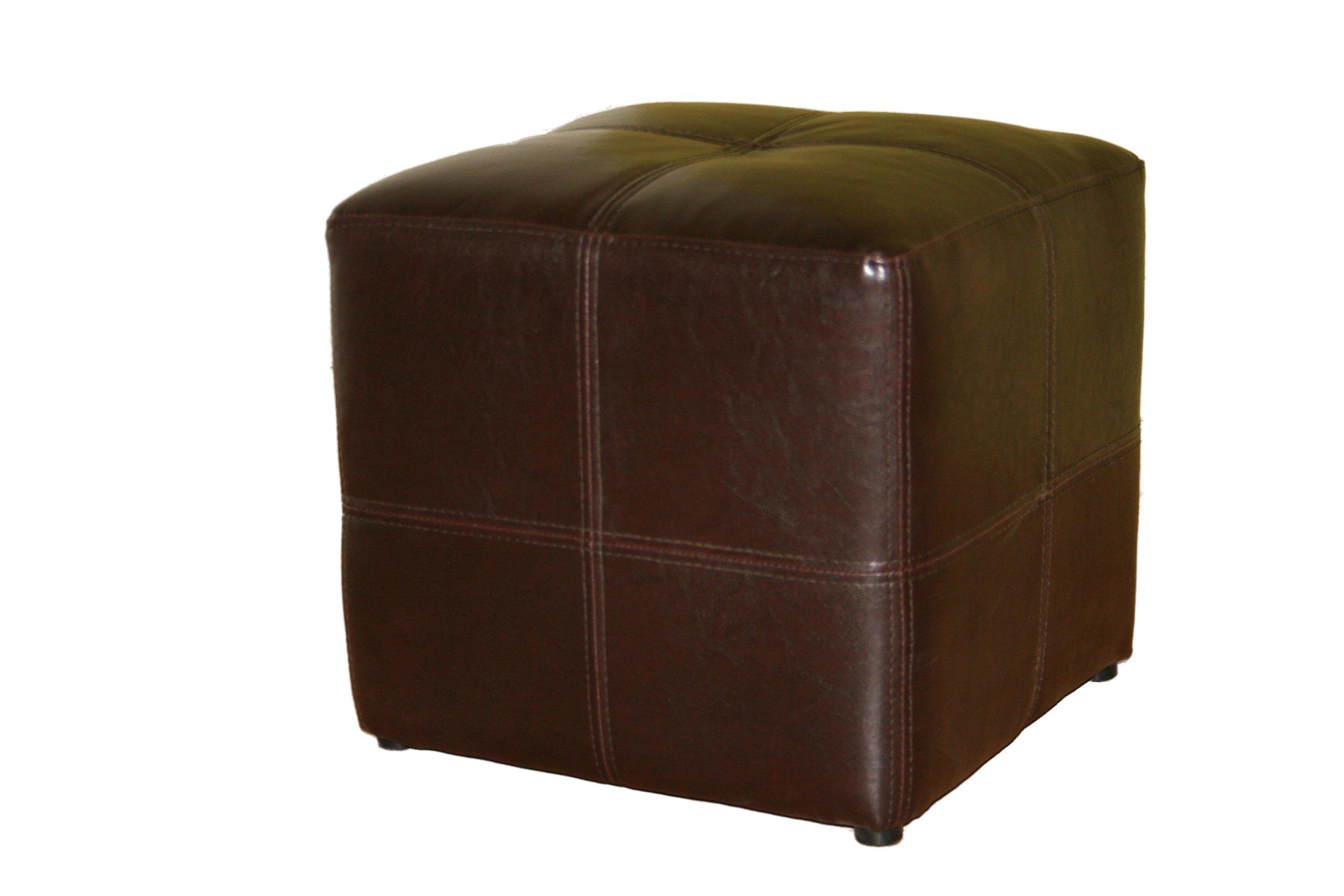 Baxton studio nox brown leather ottoman for Baxton studio