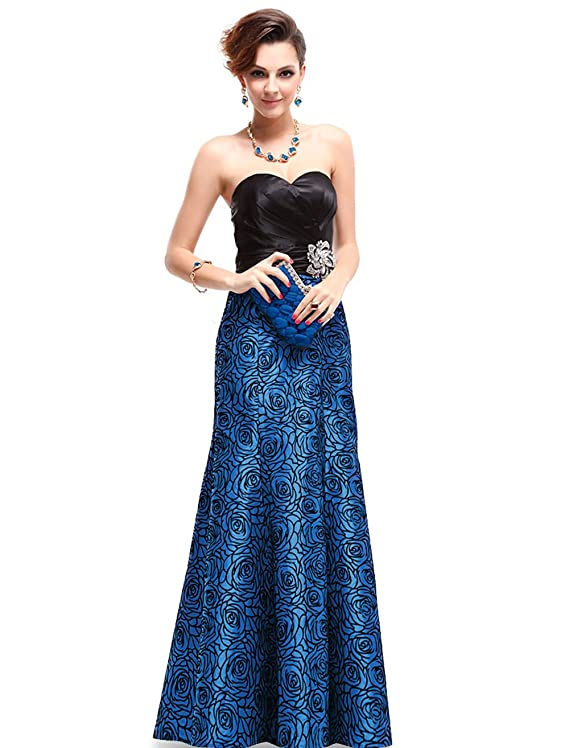 Ever Pretty Strapless Satin Floral Print Ruffles Evening Gown Party Dress 09727