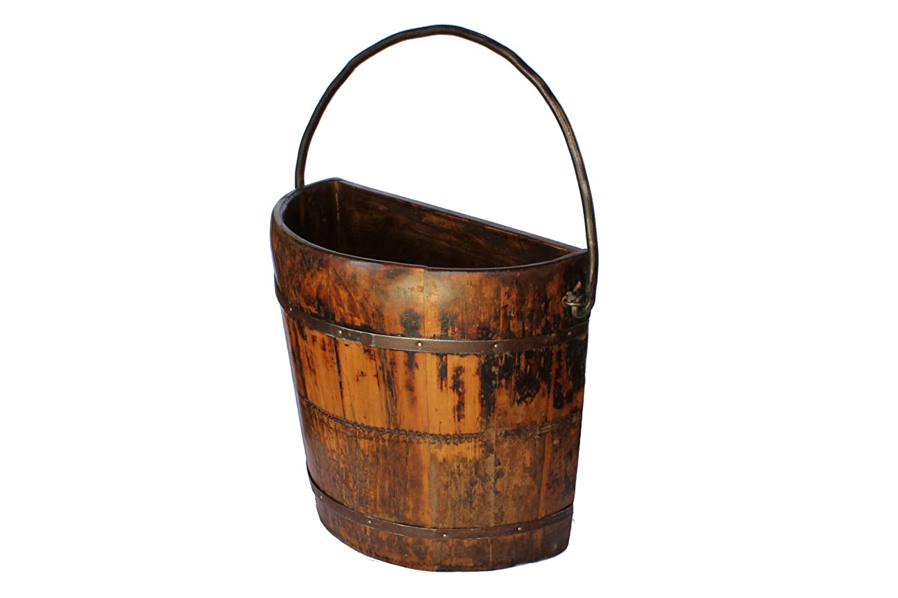 Antique Revival Knob Hill Wooden Half Bucket, Natural 0