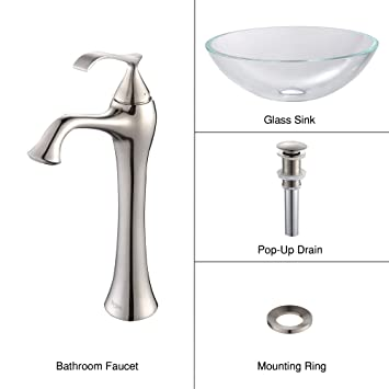 Kraus C-GV-100-12mm-15000BN Crystal Clear Glass Vessel Sink and Ventus Faucet Brushed Nickel