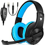 PC Stereo Gaming Headset, PS4, Xbox One Games Headphones with mic, Bass Surround, Volume Control, Noise Cancelling for Laptop, Controller, Mac(Blue) (Color: Blue)
