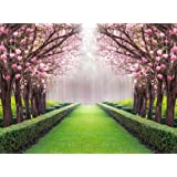 Leowefowa Vinyl 10X8FT Spring Backdrop Valentine's Day Cherry Blossom Green Grass Meadow Plants Countyard Nature Outdoor Wedding Photography Background Girls Lover Photo Studio Props (Color: color009, Tamaño: 10x8ft)