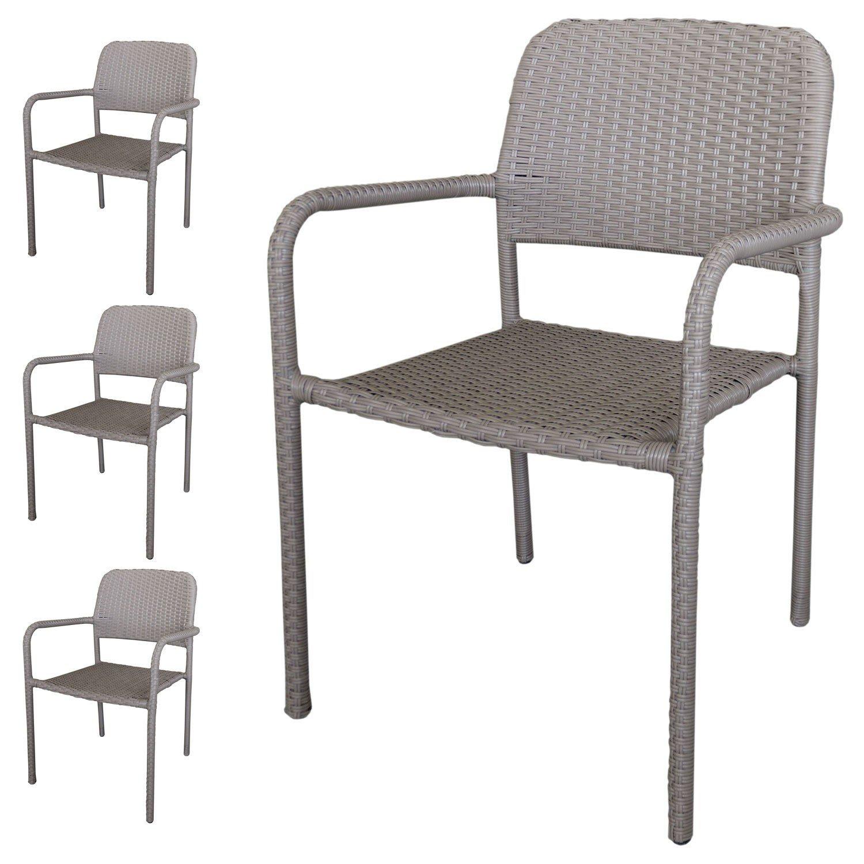 4 Stück Stapelstuhl Rattanstuhl - Gartenstuhl Set stapelbar mit Polyrattanbespannung in Taupe - Gartensessel Gartensitzmöbel
