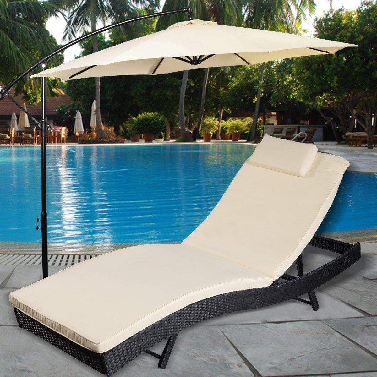 Polyratten Gartenliege Sonnenliege Relaxliege Gartenstuhl Liegestuhl inkl. Auflage und Kopfkissen Ratten Lounge Liege Garnitur Gartenmöbel Outdoor online kaufen