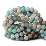 Qiwan 35PCS 10mm polychrome Natural amazonite amazon Dull Polish Gemstone Round Loose Beads for Jewelry Making 1 Strand 15