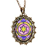 Solomons 2nd Seal of Jupiter, for Honor, Wealth, & Peace Huge Antique Copper Medallion Rhinestone Pendant