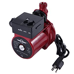 BOKYWOX 120W 110V Food Grade Automatic Booster Pump NPT3/4'' Domestic Hot Water Circulator Pump 120W Home Recirculating Pump Hot Water Circulator Circulation Pump (RS15/9R) (Color: automatic red)