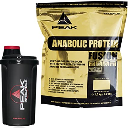 Peak Anabolic Protein Fusion Schoko 1000g Beutel Eiweiß + Original Peak International Shaker Sparaktion