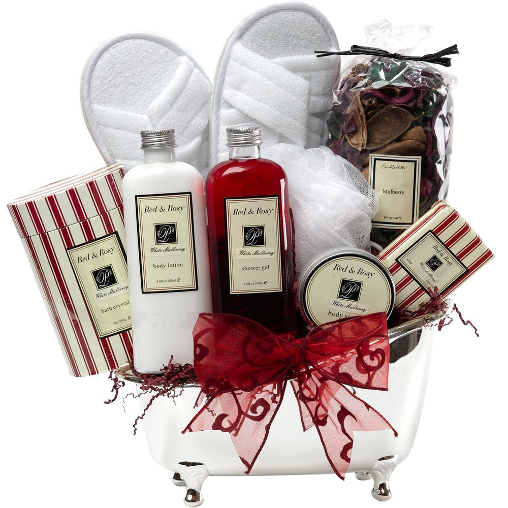 Art of Appreciation Gift Baskets White Mulberry Bathtub Spa Bath and Body Set