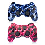 PS3 Controller Wireless Gamepad for PlayStation 3 Bluetooth Game Controller Remote Control Support PS3 - Lightning Blue and Lightning Red (Color: blue+red)