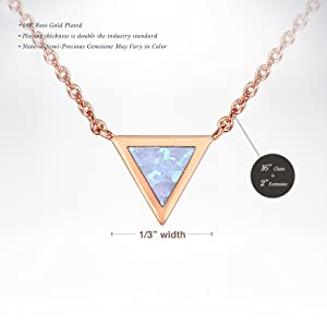 PAVOI 14K Rose Gold Plated Triangle Bezel Set White Opal Necklace 16-18 (Color: Rose Gold)