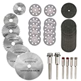Hamineler 36PCS Rotary Cutting Wheels Tool Kit, Mini Diamond Cutting Wheel and HSS Circular Saw Blades and Resin Metal Cutting Wheels Tools Wood Metal Stone Cutting