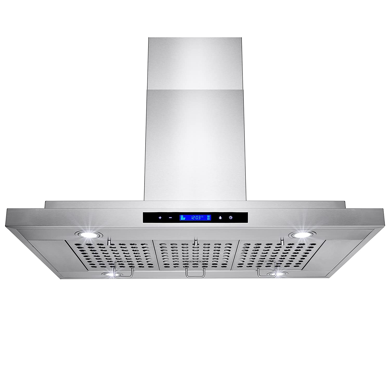 "AKDY® 36"" Stainless Steel Island Mount 870 CFM Powerful Kitchen Vent Cooking Fan Touch Screen Control LED Lights Range Hood"