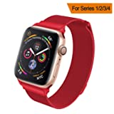 HILIMNY Compatible for Apple Watch Band 38mm 40mm 42mm 44mm, Stainless Steel Mesh Milanese Sport Wristband Loop with Adjustable Magnet Clasp for iWatch Series 1/2/3/4,Red (Color: Red, Tamaño: 38mm/40mm)