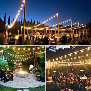 Binval 50Ft G40 Outdoor/Indoor String Lights UL Listed for Patio Decor Waterproof 50Ft with 55 Clear Bubls Outdoor String Lights for Decks Tents Bistro Backyards Parties Wedding DIY Pool Umbrellas (Tamaño: 50 ft)