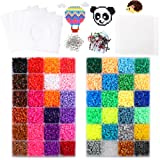 20160 Fuse Beads 48 Colors 5mm Including 4 Big Square Clear Pegboards, 5 Ironing Paper, 100 Jump Rings, 50 Straps, 2 Tweezers Compatible Kit as Christmas Gifts by STUHAD (Color: Multicolor)