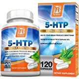 BRI Nutrition 5 HTP 100mg 120 Vegetarian Capsules : Supports Depression & Anxiety Relief/Boosts Serotonin Production/Sleep Aid Supplement (Color: 120 Count, Tamaño: 120 Count)