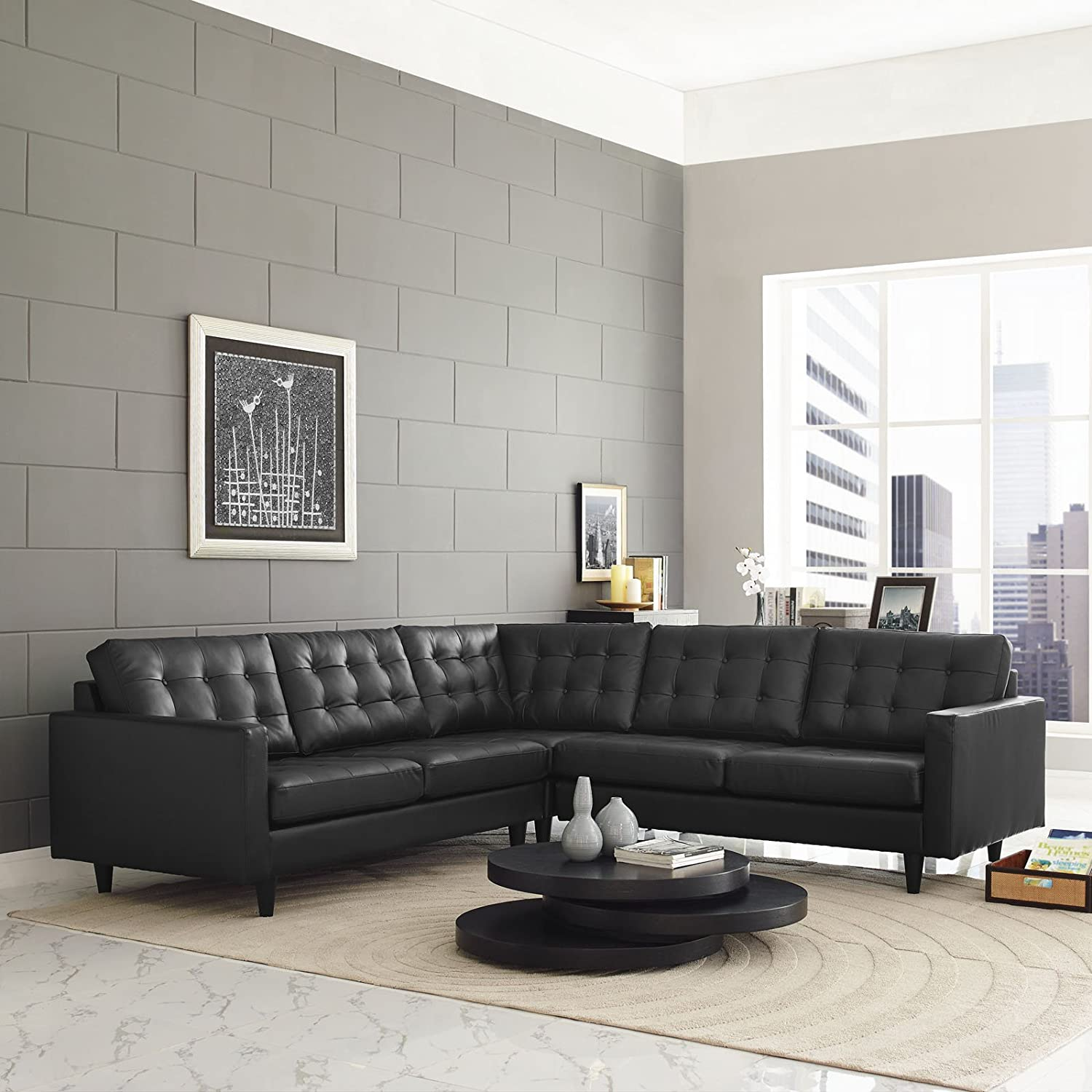 Empress 3 Piece Leather Sectional Sofa Set - Black