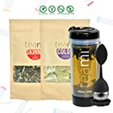 30 Day Detox Tea Kit for Teatox & Weight Loss to get a Skinny Tummy by Teami Blends   Our Best Colon Cleanse Blend to Raise Energy, Boost Metabolism, Reduce Bloating! (Big Black Tumbler & Infuser) (Tamaño: Kit + 600ML Tumbler)