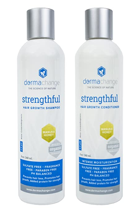 Hair Growth Organic Shampoo and Conditioner Set by DermaChange