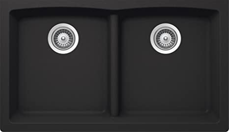 SCHOCK EDON200YU010 EDO Series CRISTALITE 50/50 Undermount Double Bowl Kitchen Sink, Onyx