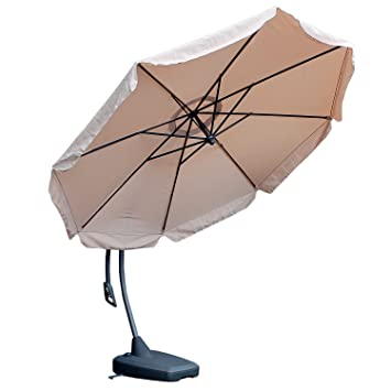 eleganter xxl sonnenschirm gartenschirm sonnenschutz 350cm ampelschirm kurbelschirm inklusive. Black Bedroom Furniture Sets. Home Design Ideas