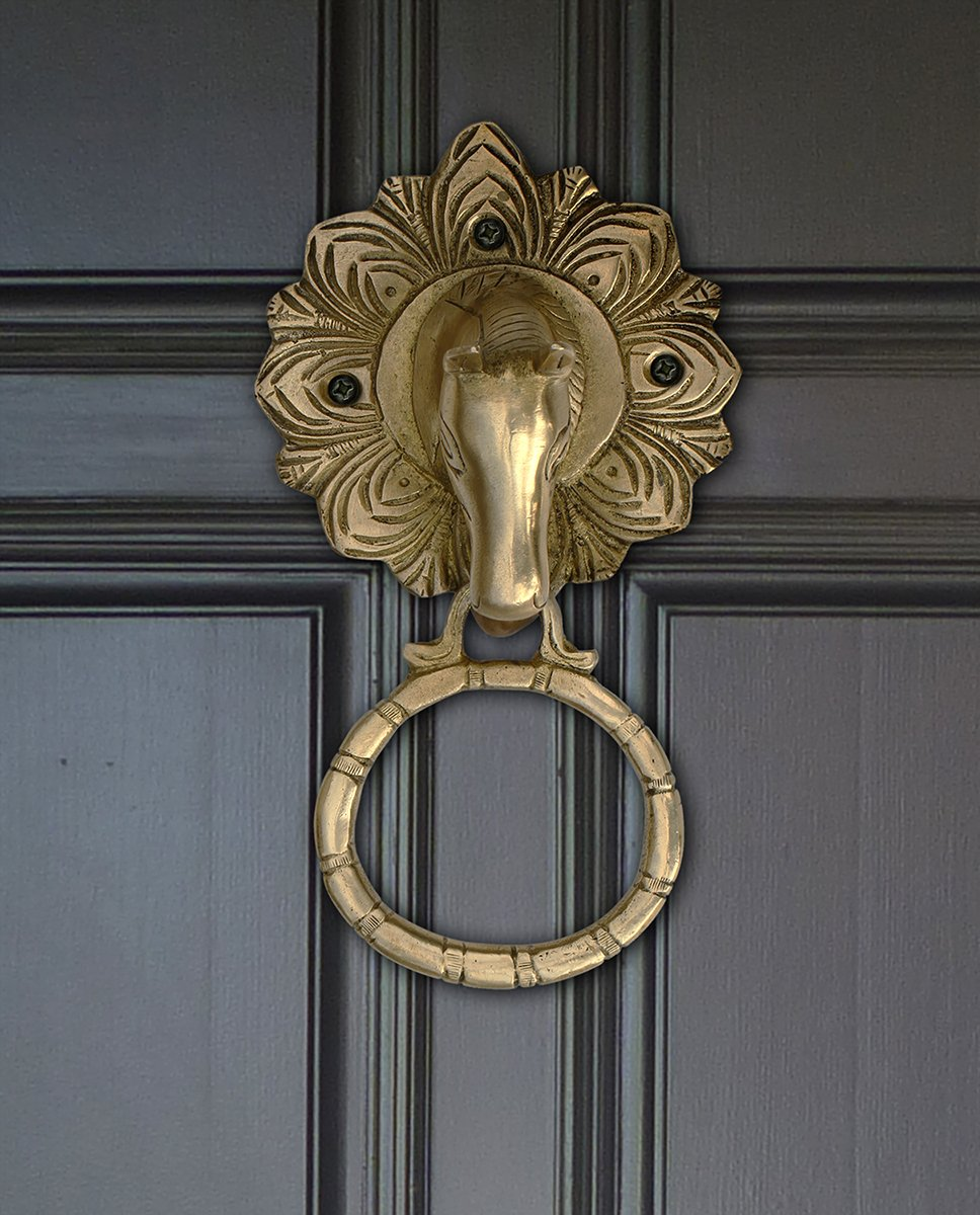 Brass Horse Door Knocker Antique Vintage Look Rustic