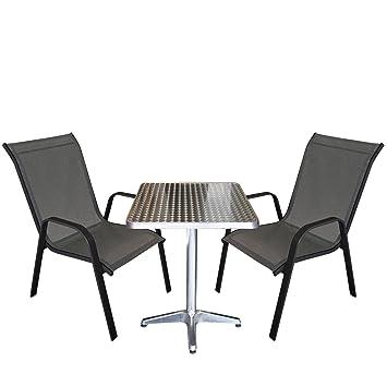 3tlg. Bistrogarnitur Balkonmöbel - Set Sitzgruppe Aluminium Bistrotisch 60x60cm + 2x Stapelstuhl Textilenbespannung Terrassenmöbel Gartenmöbel