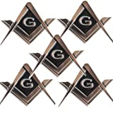 CREATRILL 5 Pack 2.75'' Chrome Plated Masonic Car Emblem Mason Square and Compasses Auto Truck Motorcycle Decal Gift Accessories (Color: 5 Pack)